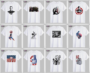 2014 Summer men's version Captain America T-shirt avengers alliance Fashion round collar cotton short sleeve 12 - The three countries acting 1 store