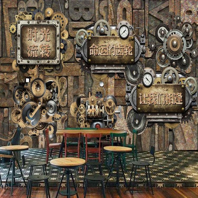 Free Shipping time transfer gear imitation metal mural restaurant cafe wallpaper bedroom car store 3D wallpaper mura(China (Mainland))