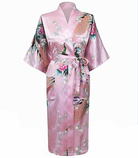 Самый популярный розовый китайских женщин халат кимоно ванна платье леди лето шелковый ...