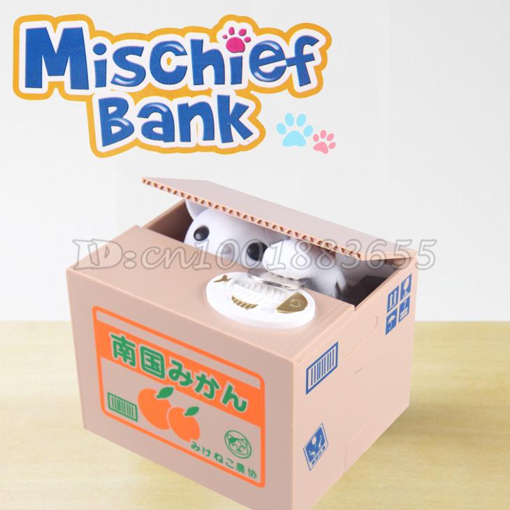 Trasporto libero creatività Genuine bella piggy bank risparmio di denaro elettronici cat piggy banche per rubare il gatto regalo di compleanno ..(China (Mainland))