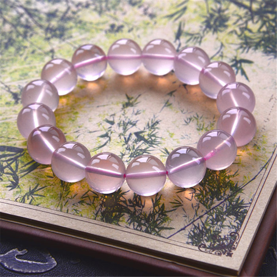 11-13mm Mozambique Genuine Natural Star Light Rose Quartz Bracelet Women Lady Charm Stretch Love Round Crystal Beads Bracelet(China (Mainland))
