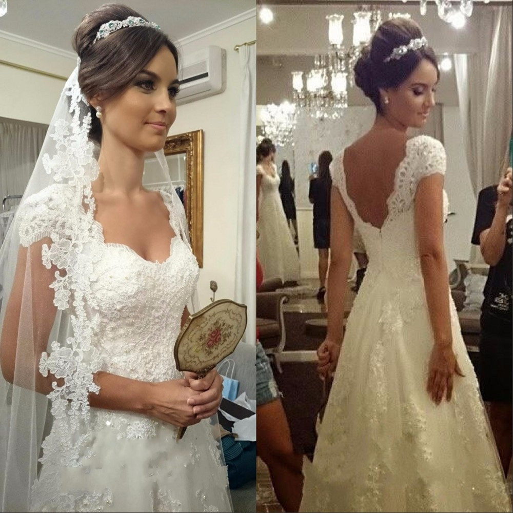 Wedding Dresses 2017 Vestidos De Noiva Plus Size Wedding Dress Sexy Backless White Beach Lace Bridal Gowns Cheap Made In China(China (Mainland))