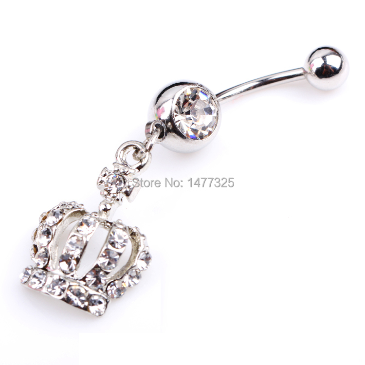 Creative Style Crown Charm Rhinestone Body Piercing Jewelry Belly Button Ring Navel Jewelry(China (Mainland))
