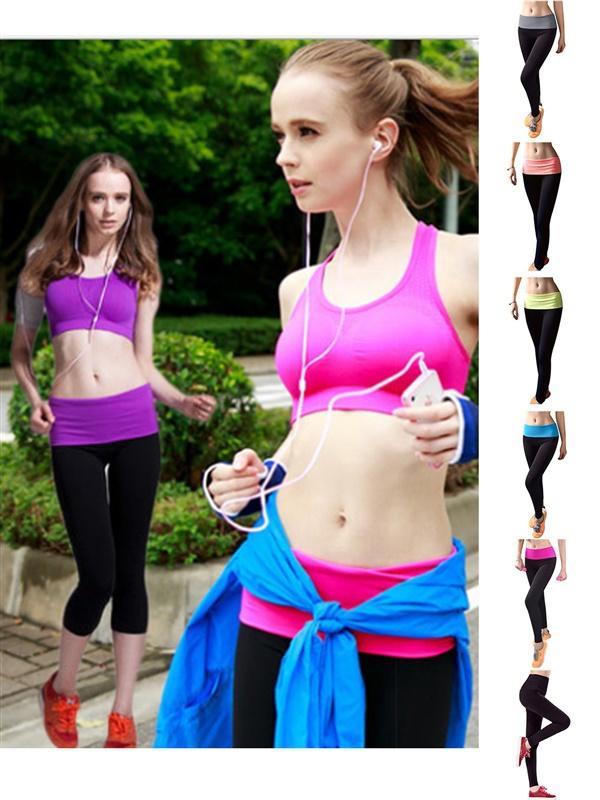 Top 2015 Women's Slimming Seamless Stretchy Band Yoga Activewear Capri Leggings Fold-Over Waist Active Yoga Pants(China (Mainland))