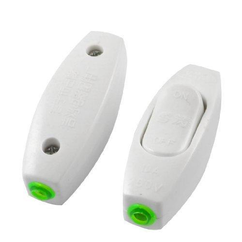 2 Pieces White Plastic Shell OFF/ON In Line Cord Light Button Tables Lamp Switch AC 250V 10A(China (Mainland))