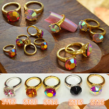 10pcs New Glitter Rhinestones Gold Alloy Nail Rings Charm Fashion Design Jewelry DIY Manicure 3d Nail Art Decorations ST12(China (Mainland))