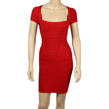 Buy Red Cap Sleeve Elastic Knitted Rayon Bodycon HL Bandage Dress Celebrity Mini Party Dresses for $21.75 in AliExpress store
