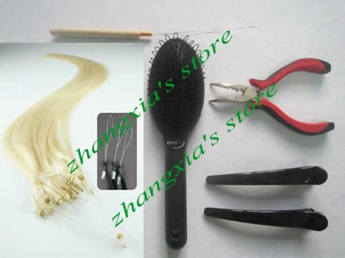 Remy Human Hair DIY Kits,(200pcs micro ring/loop hair extension lightest blonde #613 plier+needle+brush+clips)<br><br>Aliexpress