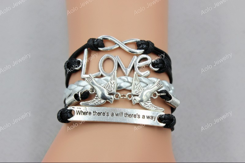 """Silver Infinity Love """"where there's a will there's a way"""" Charm Braided Leather Cord Bracelet, Free shipping! Aolo01015(China (Mainland))"""