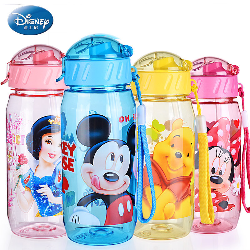 Disney My bottle Children Kids Baby Cartoon Minnie Mickey Lovely Eco-friendly With lid Hiking Straw Type Plastic Water bottle(China (Mainland))