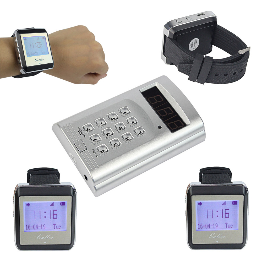 Wireless Coaster Pager Calling System Hotel Waiter Restaurant Paging System& 1 Keyboard Transmitter + Watch Receiver Pager F4425(China (Mainland))