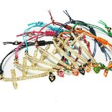 2015 Fashion yarn cord jewelry rhinestone alloy cross with little heart bracelet for women(China (Mainland))