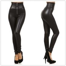 New fashion Women's elasticity Leather Leggings Black High-Waist fitness legging brand sports clothing zipper leggins women