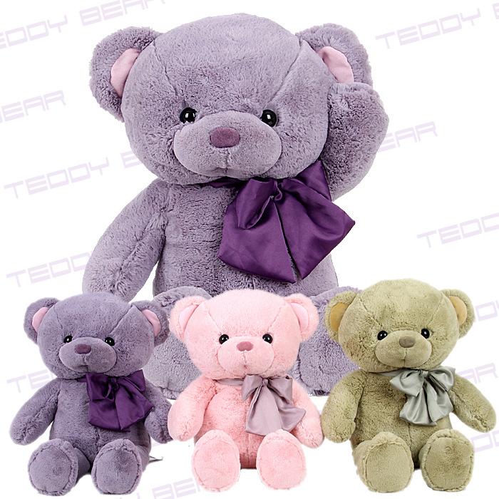 Stuffed teddy bear large baby doll The wedding gift Teddy bear plush toys 50 cm / 75cm 3 color teddy bear plush toys free ship(China (Mainland))