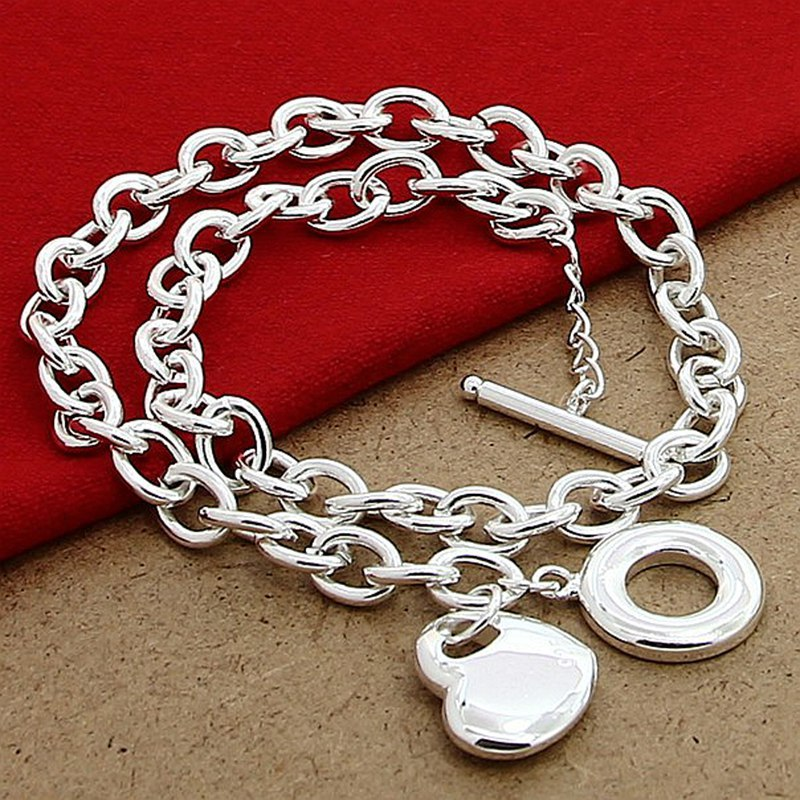 2015 free shipping manufacturers wholesale 925 silver necklace pendant necklace to heart center Fashion and contractedP120(China (Mainland))