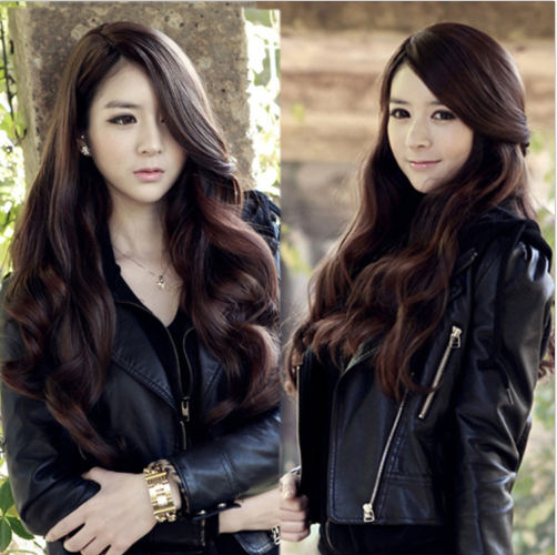 70 Cm Heat Resistant Synthetic Cosplay Wig Natural Black Brown Long Wavy Curly Synthetic Hair Wigs Female Women Sexy Pelucas(China (Mainland))