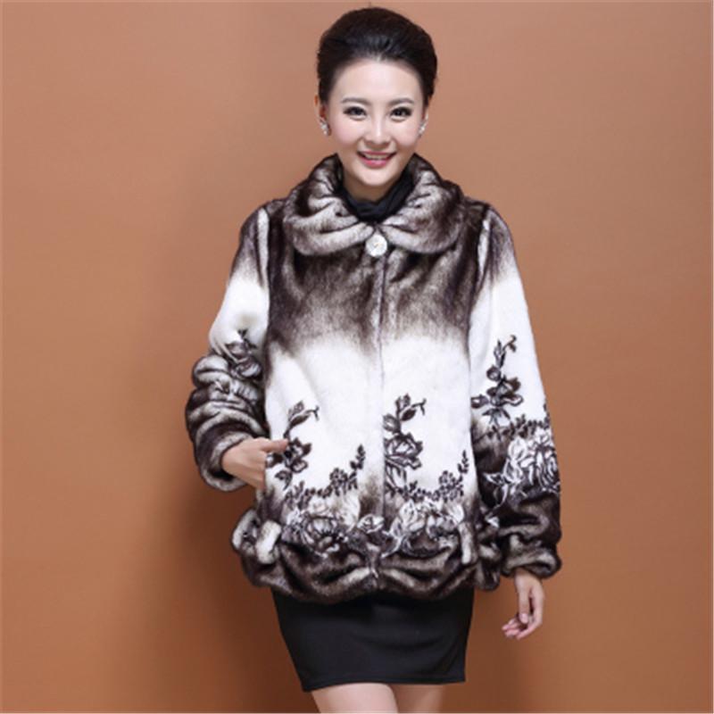 2015 Winter Long Plus Size Coat Women Faux Mink Fur Outwear Hooded 4XL Thick Slim Print Fur Jacket abrigos y chaquetas LJ3297(China (Mainland))