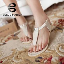 Big Size 34-43 2015 New Hot Fashion Summer Sweet PU Women Flats Sandals Casual Solid Ankle Strap Women Shoes Black Beige
