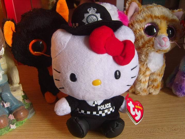 collection beanie babies big eyes stuff doll toy 6 inches police hello kitty(China (Mainland))