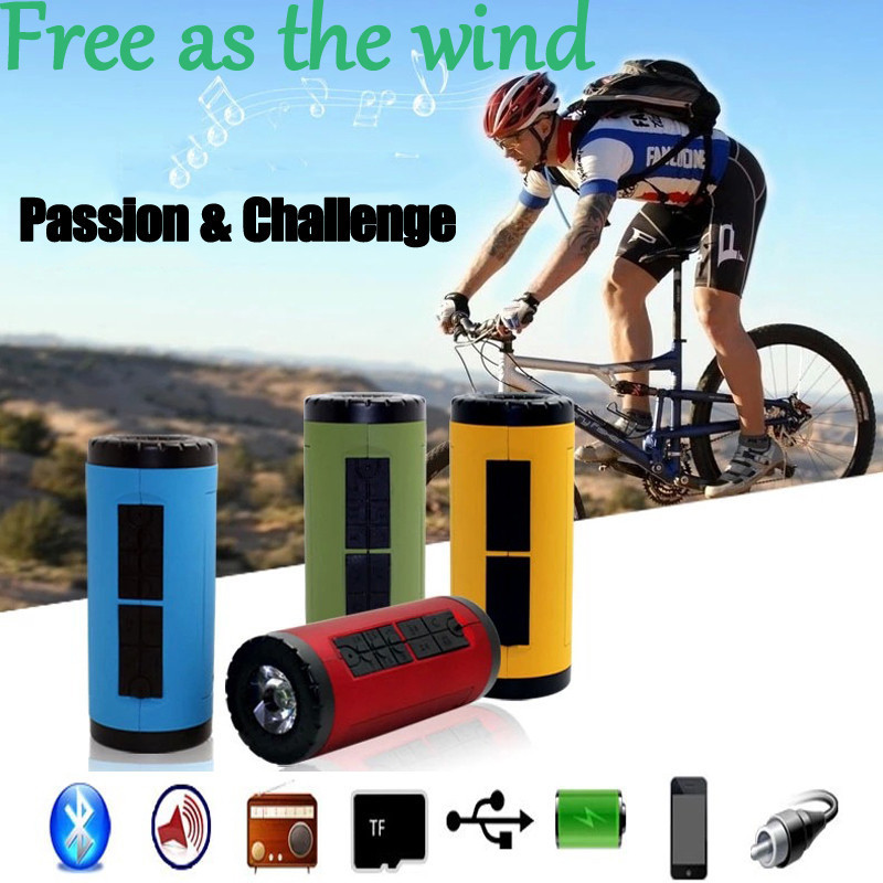 Portable Outdoor Bicycle Bike Bluetooth Speaker+4400mah Battery Mobile Power Bank Charger with FM Radio USB TF Card Aux Jack(China (Mainland))
