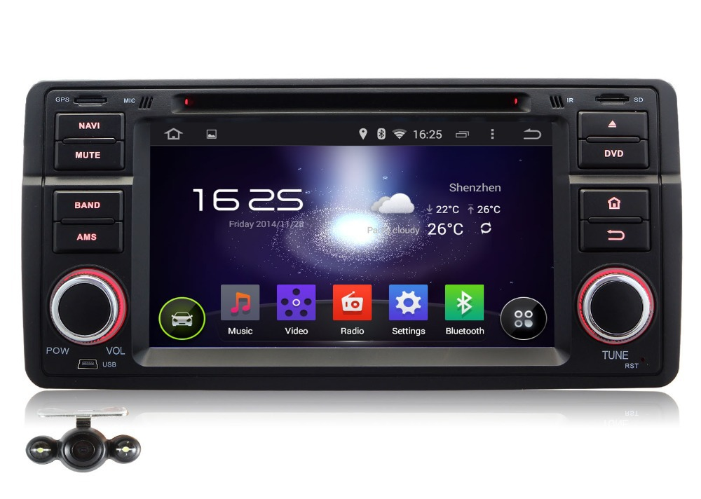 7 1DIN Pure Android 4 4 Car DVD Navigation For Benz E46 Camera OBD2 3G Wifi