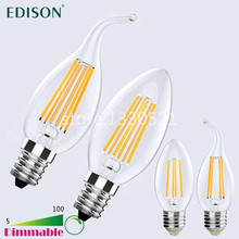 Buy Dimmable E12 E14 E26 E27 LED Candle Light 110V-240V 2W 4W 6W Vintage Edison LED Filament Lamps Chandelier LED Lighting Bulbs for $11.38 in AliExpress store