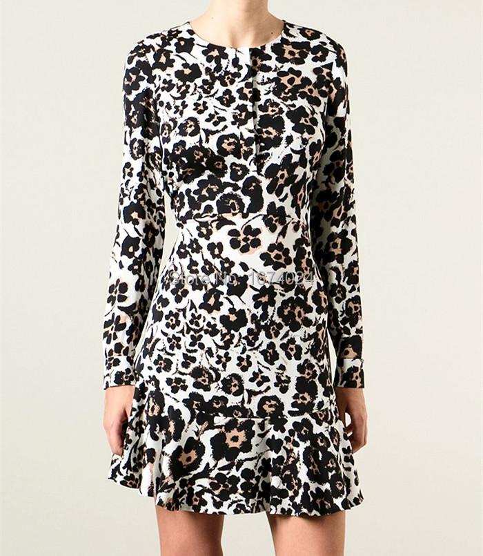 2015 Boutique Flirty Silk Tunic Dress Women's Long-sleeved Cheetah Floral Printed Dress Chic Ruffled Dress(China (Mainland))