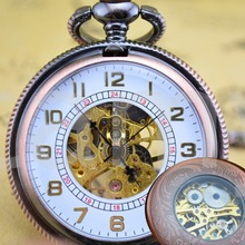 Unisex Vintage Rose RED Style Mechanical Pocket Watch for Women Men Antique Watches Best Gift Skeleton Watches for Relatives