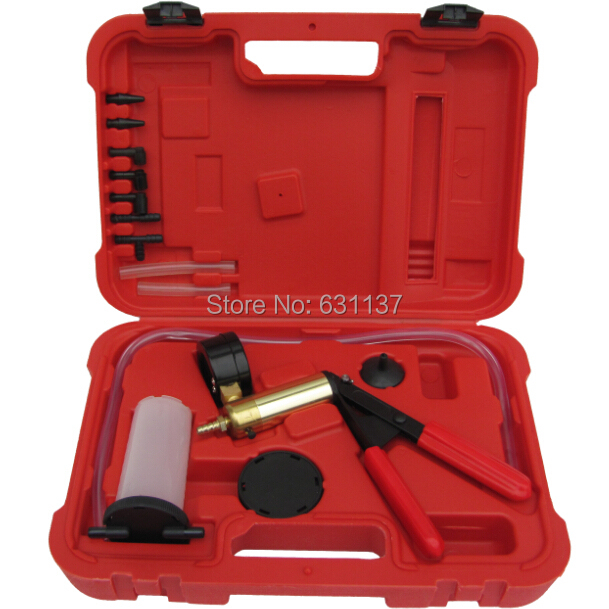 Free Shipping Car/Moto Hand Held Vacuum Pump Brake Fluid Bleeder/Bleed/Bleeding Gauge Pressure Test Tester Diagnostic Tool Set(China (Mainland))