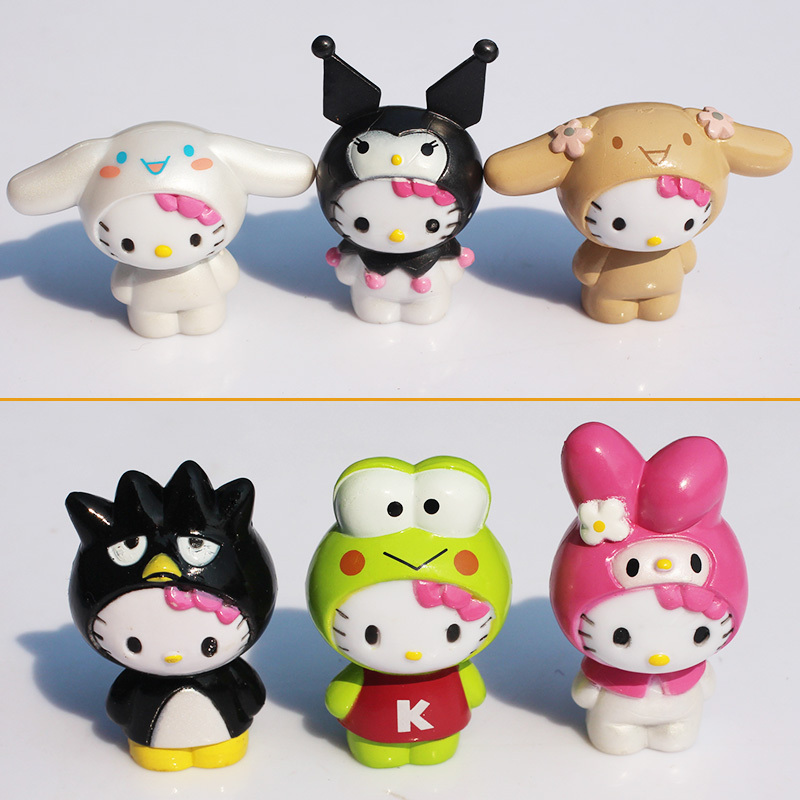 "Approx 4cm 1.6"" Hello kitty PVC Figure Children Toy Set of 6 Free shipping(China (Mainland))"