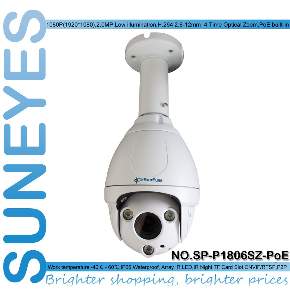SunEyes SP-P1806SZ-POE Ceiling Bracket Outdoor Dome PTZ IP Camera 1080P Full HD with Micro SD Slot 2.8-12mm Optical Zoom(China (Mainland))