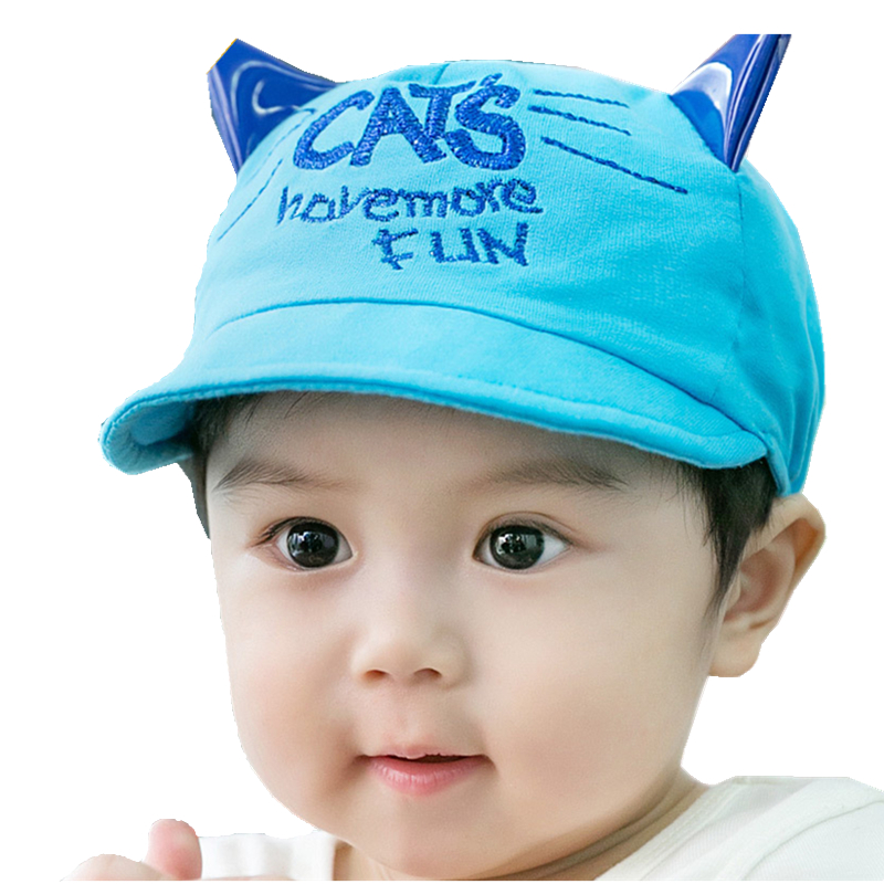 New Lovely Princess Caps Cute Cartoon Cats Baby Hats with Ear Cotton Baseball Cap for Newborn Baby boys Hat 3-18M adjustable(China (Mainland))