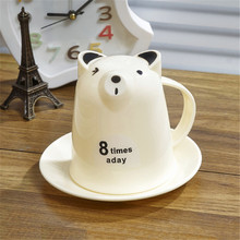 Mug Cartoon Cup Set Comfortable handle Bear Cubs mug with a dish 500ml 13.2*9.5cm free shipping Q-3 cartoon water coffee  cup(China (Mainland))