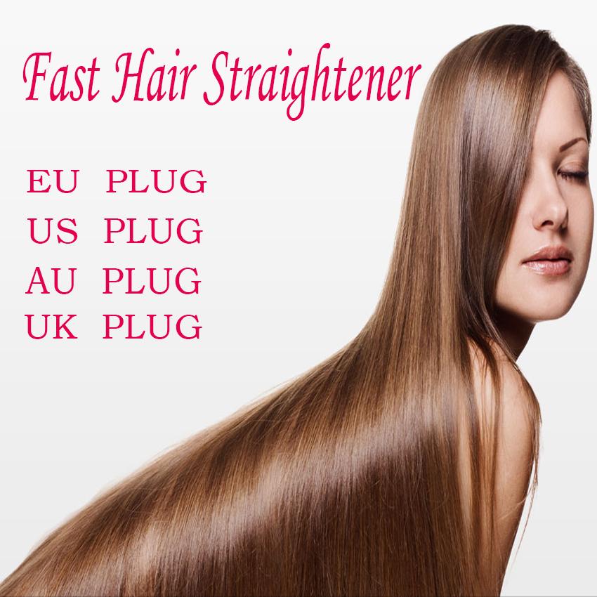 2016 Free Shipping Hair Flat Irons Hair Straightener Brush Hair Care Product Portable Hair Straightening Comb UK AU US EU plug(China (Mainland))