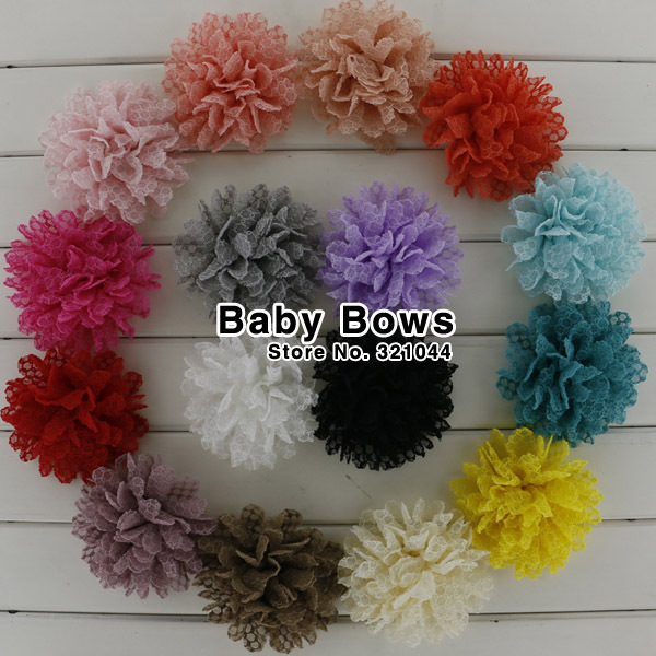 60pcs 3.5'' Fabric Hair Flower Lace Hair Flowers With Clip,Baby Artificial Flowers Hair Clip Hair Accessories Free Shipping(China (Mainland))