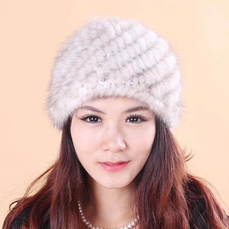 New 2015 Winter And Autumn Women's Caps Mink Fur Knit Hat Genuine Nature Mink Beanie Lady Headgear Female Warm Hat MH-002(China (Mainland))