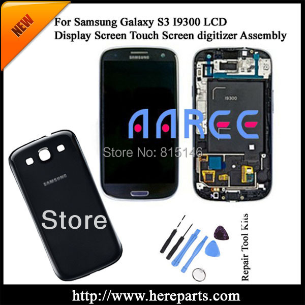 Original For Samsung Galaxy S3 i9300 LCD screen Digitizer Assembly with frame + Back Cover-Black Free shipping + Tool Kits(China (Mainland))