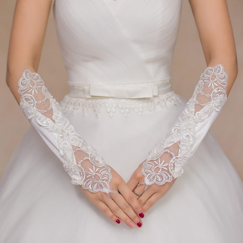 Оптовая Бесплатная Доставка Пальцев Кружева Цвета Слоновой Кости Перчатки Кружева Свадебные Перчатки Свадебные Перчатки Свадебные Аксессуары