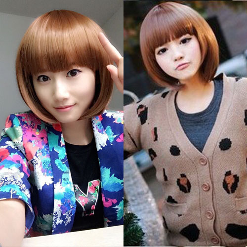 High Quality Synthetic Hair Wig Cosplay Anime Party Sexy Women Men Short Straight Natural Bob Blonde Wig/Wigs With Bangs Peruca(China (Mainland))