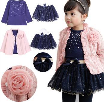 Free shipping 2014 spring baby girls clothing sets 3 pieces suit girls flower coat + blue T shirt + tutu skirt girls clothes(China (Mainland))