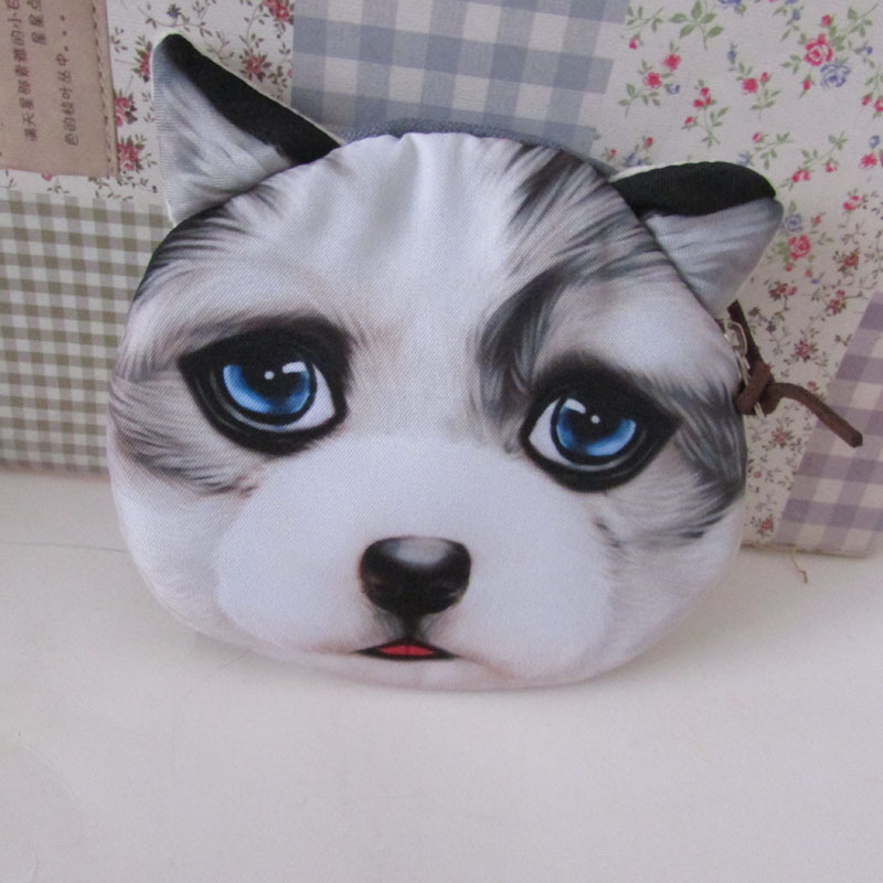 MinI Zipper Coin Purse Blue Eyes Dog Handbag Small Bags Polyester Change Purse Key Wallets(China (Mainland))