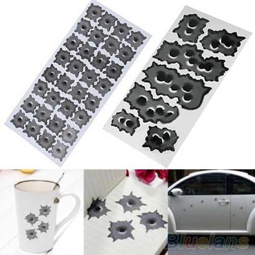 32 Bullet Hole Orifice Sticker Graphic Decal Shothole Car Auto Helmet Windows 2MQT