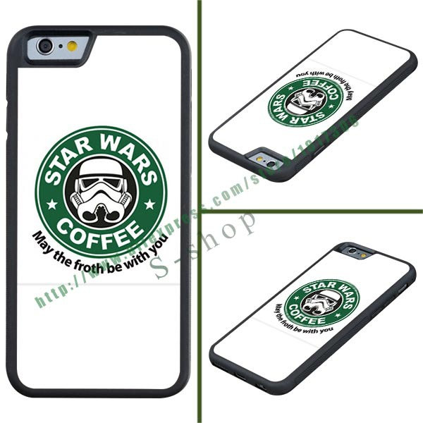 Brand Green Logo Coffee Star Wars Cover Case For Apple iPhone 6 TPU Free Shipping(China (Mainland))