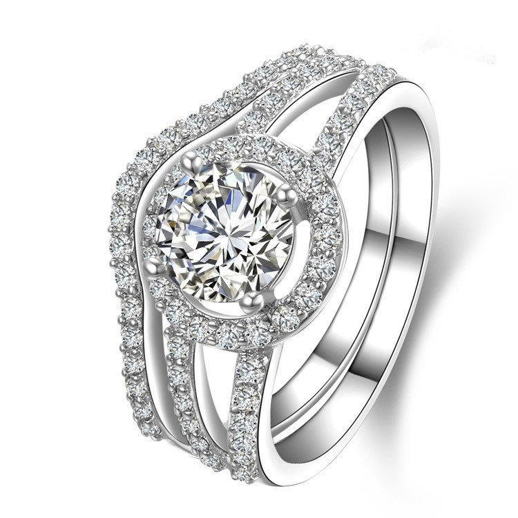 Test Positive 1Ct Round Cut Moissanite Ring High Quality 14K 585 White Gold Ring Sets for Women Wedding Engagement Gold Jewerly(China (Mainland))