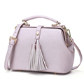 Embossed Leather Retro Bag Women Fashionable Tassels Handbag Classic Doctor Bag Ladies Shoulder Bag Chic Fringe