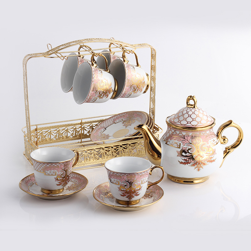 Free shipping Fashion tea set gold quality coffee cups set d Angleterre red tea set cup