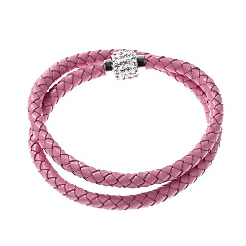 IG Wholesale Bracelet Wristband Cord Leather Braided Crystal Ball Gift Pink(China (Mainland))