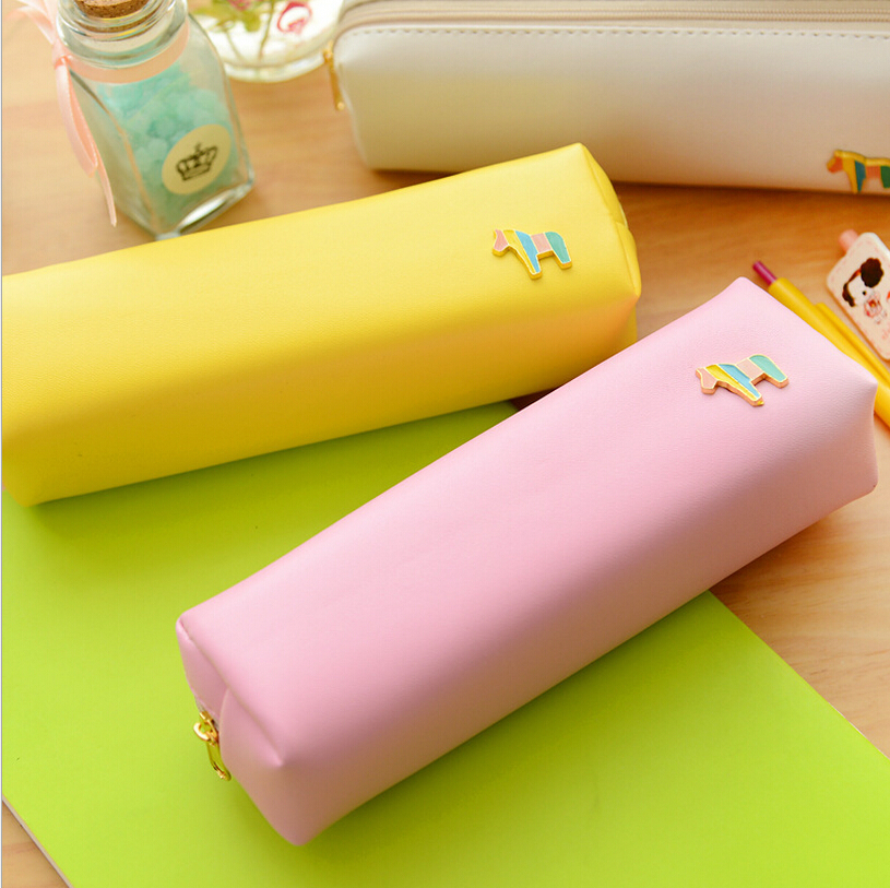New Style Lovely Horse Pencil Case Rolling Up Leather Zipper Pencil Bag Stationery For School Students(China (Mainland))