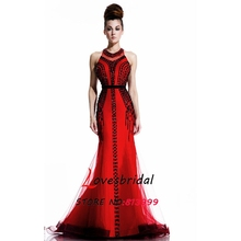 2016 Latest Red Vestidos De Fiesta Sexy O-neck Mermaid With Black Crystals Prom Dresses Open Back Sleeveless Party Gown CJ806