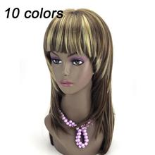 Mixed Colors Long Straight Wig 2014 New Hot Sale Fashion Sexy Girl Cosplay Party Wig Hair Bangs Hairband Free Shipping DW53(China (Mainland))